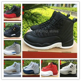 Wholesale Red Satin Boots - WITH BOX Black-White XII 12 Mens Basketball Shoes 18 Colors athletic trainer sports footwear 12 sneaker boots US8-13