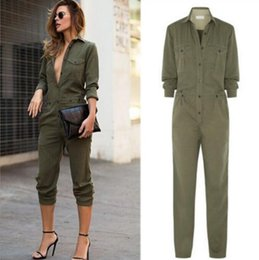 dc3e2dad68a New Fashion Women Jumpsuit Sexy Bodycon Party Lapel Long Sleeved Playsuit  Trousers Stylish Army Green Rompers