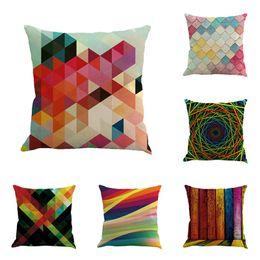 Wholesale purple abstract - Abstract Colorful Geometric Linen Pillow Case Cushion Cover Home Car Sofa Throw Pillowcase Waist Back Cushion Covers 45x45cm