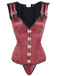 026a8215687 Steampunk Corset Top Women Trainer Brocade Retro Overbust Corset Cupless Vest  Gothic Clothing Cincher Boned Corselet W580811