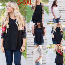 Wholesale leopard print woman - Women Floral T Shirt 3 4 Sleeve O-Neck Casual Floral Print Shirt Leopard Blouse 6 Styles OOA4148