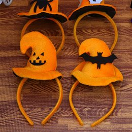 Wholesale Kids Pumpkin Costumes - Pumpkin Sorceress Hat Witch Hat Fancy Dress Party Costume Cap Party Decor for Kids Caps Adults Cosplay Halloween Decoration P20