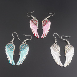 Wholesale wholesale chandeliers crystals - Angel wings dangle earrings antique gold silver color W crystal women girls biker bling jewelry gift wholesale 170890