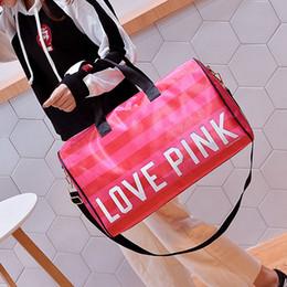 89e098657b Hot-selling Girl Stripe Duffle Pink Bag Nylon Beach Shoulder Bag Large  Capacity Secret Overnight Weekender Bag