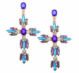 mexican crosses UK - Hot style jewelry European and American fashion creative alloy crystal rhinestone Crosses earrings Crucifix exaggerated and shiny earrings