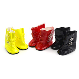 Wholesale Yellow Boots For Girls - 1pair Doll Boots Shoes Fits For 18 inch American Girl Doll Shoes Accessories 3 Colors Dolls Boots for Baby Christmas Gift