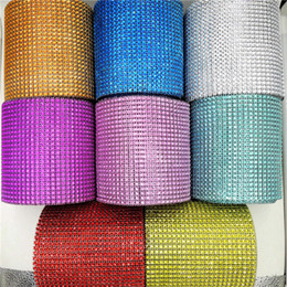 Canada 10yard / roll 24 rangées de diamants maille Wrap Roll strass cristal Sparkle Bling ruban cristal trim Wrap sparkle bling ruban décoration de mariage Offre