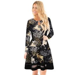 1433563e077 Hiver Dames Robes De Noël Imprimé Floral À Manches Longues Partie De Noël  Robes Robes Casual Vêtements Pour Femmes