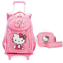 Wholesale Luggage Kids - Hello Kitty Children School Bags Mochilas Kids Backpacks With Wheel Trolley Luggage For Girls backpack Mochila Infantil Bolsas