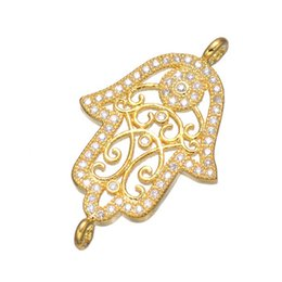 Wholesale Hamsa Connector Charms - Wholesale Fashion Gold LUCKY Hamsa Hand Jewelry Accessories DIY Bracelets Necklace Earrings Charms Connectors For Jewelry Making Findings