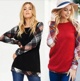 Wholesale Short Sleeve Sweater Hoodies - Women Grid Long Sleeve Hoodie Pullover Sweatshirt Sweater Hooded Tops Outwear Fashion Women Clothes Sweatshirt LJJK868