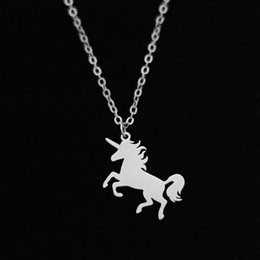 Wholesale stainless steel horse jewelry - Unicorn Pendant Necklace Stainless Steel Horse Pegasus Gold Friends Gifts Silver Women Lucky Children Charm Jewelry Wholesale