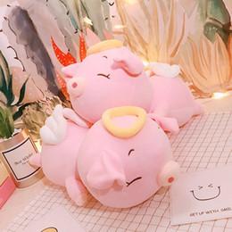 2019 boneca de porco bonito dos desenhos animados Puffer algodão anjo porco brinquedos de pelúcia bonito planking porco boneca dos desenhos animados abraço travesseiro desconto boneca de porco bonito dos desenhos animados