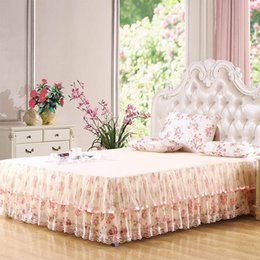 Discount full beds sale - Skirted Bedspread King Bed Skirtks Lace Floral Bed Skirts Sale 180x200cm Full Bedspread One Piece Free Shipping