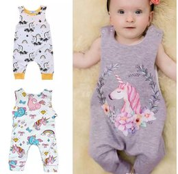 Wholesale girls leopard print jumpsuit - Baby Unicorn Jumpsuits Rainbow Floral Cartoon Print Summer Sleeveless Shoulder Buckles Vest Romper A-class Cotton 6-24M