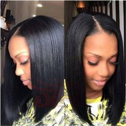 wholesale silky hair Coupons - 13*6 Deep Part Lace Front Human Hair Wigs For Black Women Pre Plucked Brazilian Remy Hair Straight Short Bob Wigs With Baby Hair