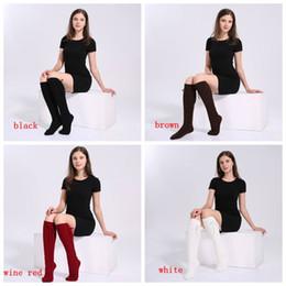 calcetines de color sólido al por mayor Rebajas Venta al por mayor envío rápido invierno otoño calcetines calientes mujeres de la señora de punto largo de color sólido calcetines calcetines medias de las muchachas