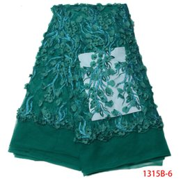 Wholesale Beaded Embroidered Fabric - 3D Lace Fabric 2017 High Quality Embroidered Trim Beaded Tulle Lace Fabric Dark Green African Lace Fabric For Women QF1315B-1