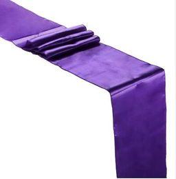 sedie a sdraio in raso bianco Sconti 5 pz 30 cm * 275 cm Raso Runner Festa Nuziale Decorazione di Eventi Fornitura Raso Tessuto Sedia Sash Arco Copertura di Tabella Tovaglia