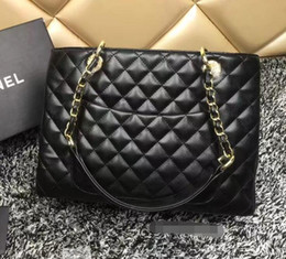 Wholesale Patent Totes - Black Lambskin Patent Leather GST Bag sheepskin Grand Shopping Tote Bag Plaid Bag With Gold Hardware