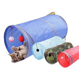 Wholesale Pet Tunnels Cats - 50*25cm Nylon Collapsible Cat Play Tunnel Long Pet Tunnel Funny Toys With Scratching Ball Cat Kitten Play Toy Bulk Cat Toys