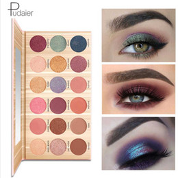 Paleta de sombras de ojos rosa púrpura online-Pudaier Eyeshadow Makeup Palette 18 Color Pink Purple Eyeshadow Waterproof No florece Matte Natural Nude Makeup Cosmetic Kit