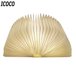 Wholesale Xmas Lights For Sale - ICOCO Hot Sale USB Rechargeable LED Foldable Wooden Book Shape Night Light Desk Lamp for Home Bedroom Decor Birthday Xmas Gift