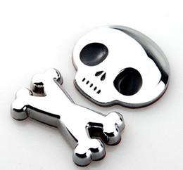 Etiqueta engomada del cuerpo de toyota online-3D Metal Skull Skeleton Car Motocicleta Body Emblem Badge Crossbones de moda Etiqueta engomada del coche para toyota mano /// MM