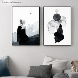 Wholesale Picture Sketches - 3 pictures Minimalist Nordic Home Decor Black Sketch Girl Interior Sticker Wall Lighthouse Part of the classic modern home decor