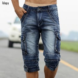 Wholesale military style shorts - Summer Mens Retro Cargo Denim Shorts Vintage Acid Washed Faded Multi -Pockets Military Style Biker Short Jeans For Men