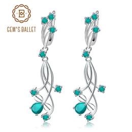 Orecchini a goccia verde agata online-GEM'S BALLET Fine Jewelry 2.88ct Orecchini pendenti da sposa naturali in agata verde per le donne 925 gioielli in argento sterling