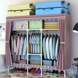"Wholesale garment organizer - 67"" Closet Organizer Storage Rack Portable Wardrobe Garment Hanger Three Rods With Shelves, All Steel Frame Structure, Free 1 Storage Box"