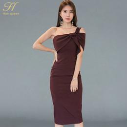 1e5642c2bb H Han Queen coreano nuevo verano One-Shoulde Sexy Bodycon vestido sin  mangas lápiz vestidos Office Wear mujeres ropa de trabajo coreano oficina  desgaste ...