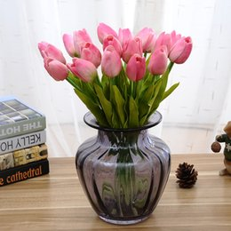 Wholesale Artificial Tulip Flowers - Simulation Silk Flowers Tulips Single Ornament Gift Wedding Fragrance Decorative Artificial Flower PU Plastic Rod Special 1 6zp V