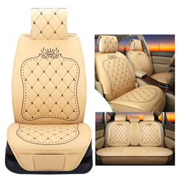 Wholesale Universal Leather Car Seat Covers - Universal Leather Crown Embroideried Car Seat Covers Set Cushion Interior Accessories for Volkswagen Suzuki Vw Kia