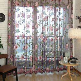Wholesale Voile Curtains Scarf - Romantic Floral Tulle Voile Door Window Curtain Screens Scarf Valances Window Decor