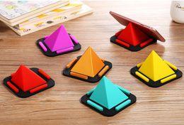 2019 dreieck telefonständer Pyramide-Mobiltelefon-Halter-Mehrzweckwinkel-Telefon-Stand kreatives Silikon-buntes Dreieck-Universal-Halterungs-Klammergroßverkauf A757 günstig dreieck telefonständer