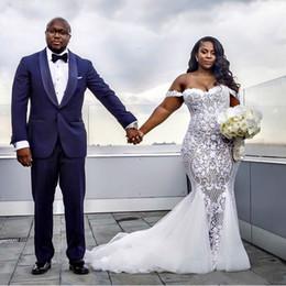 2019 robes de mariée couvertes de dentelle de cou de licou Modest Sexy Robes De Mariée Sirène Dentelle Applique Trompette Robes De Mariée Hors Épaule Plage Plus La Taille Robe De Mariage