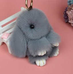 Wholesale Brown White Rabbit - low price keychain cute rabbit pendant for bag keys car bag accessories made in China