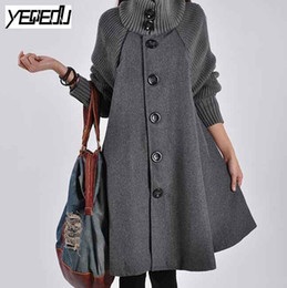 Wholesale Womens Long Coats Grey - #4012 2017 Korean Cloak Female overcoat Womens black trench coat Fashion Plus size Loose Chaquetas invierno mujer Long coat