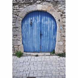 Wholesale Photography Stones - Blue Painted Wooden Door Photography Backdrops Stone Wall Baby Newborn Photo Props Kids Children Girls Photographic Background Brick Floor