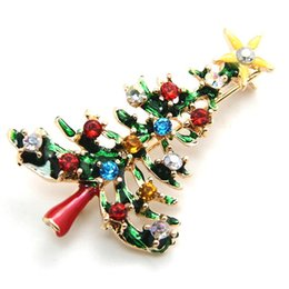 Wholesale Cute Figurines Wholesale - 1 pcs Cute New Year Christmas Tree Xmas Gift Alloy Brooch Pin Party Decoration Jewelry Brooches Christmas Tree Brooch