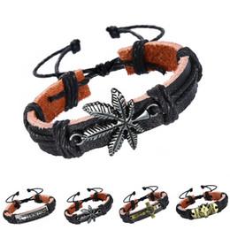 Wholesale Black Pearl Jewelry Leather - Mixcolor Vintage Punk Design Black Genuine Leather Bracelets For Women Men Wristband Super Man Charms Bracelet Jewelry