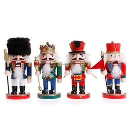 Wholesale Wholesale Nutcrackers Soldier - 4Pcs set Christmas Chic Wooden Nutcracker Walnut Soldiers Home Decoration