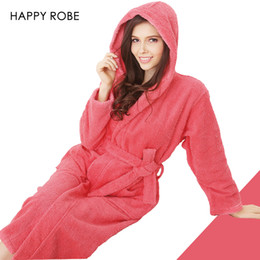 Wholesale Thick Nightgown - Wholesale-Hooded Toweled bathrobes cotton robe lady women robe autumn and winter waste-absorbing thick soft bathrobe