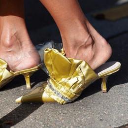 2018 Fashion Week Celebrity femmes en cuir plissé bout pointu talon haut diapositives PVC Clear Patchwork Slip Sur Perles Sandales Chaussures D'été ? partir de fabricateur