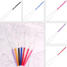 1 Unids Herramienta de Extensión de Cabello Micro Anillo Bead Pulling Hoop Loop Feather Threader desde fabricantes