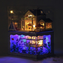 Wholesale building decoration lights - Home Decoration Crafts DIY Doll House Wooden Hawaiian Villa Building Model 3D Miniature Furniture Room Assemble Kit With LED Light 65ty YY