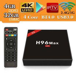 2019 mx tv box quad core Android 7.1 TV Box H96 Max 4 Go / 32 Go RK3328 Quad-Core 2.4G / 5G WiFi 100M LAN VP9 H.265 HDR10 4K USB 3.0 Smart Media Player