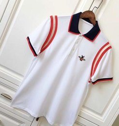 Wholesale Asian Fashion Designers - Big Brand 18ss Mens T Shirt Fashion Stripe splicing Designer Bee lapel Short Sleeve Cotton POLO T Shirt Homme Fitness asian Size S-2XL